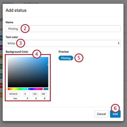image of the add status window