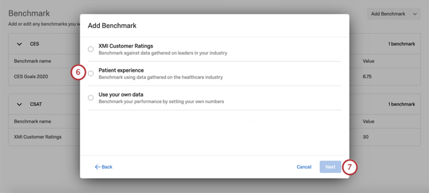 Benchmark editor window. Patient Experience is the second option, under the XMI customer ratings