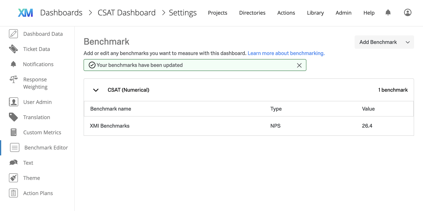 Green banner appears along the top to show you've successfully updated benchmarks