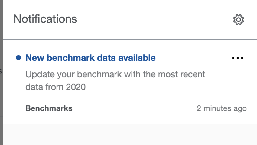 In product notification stating there are new benchmarks to use
