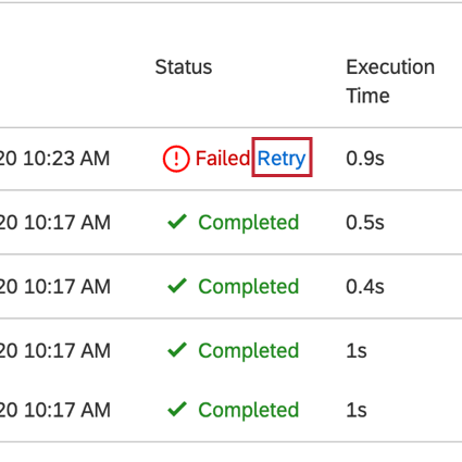 image of a failed task. the Retry button next to the status is highlighted