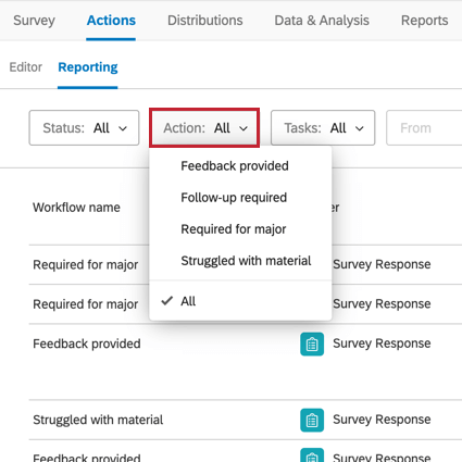 image of the actions reporting tab. The Action filter at the top of the page is selected for filtering by a specific workflow name