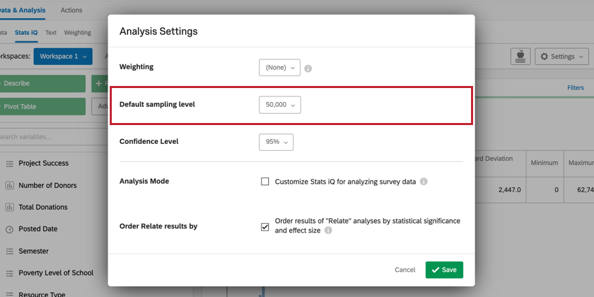 image of the default sampling level option in Analysis Settings