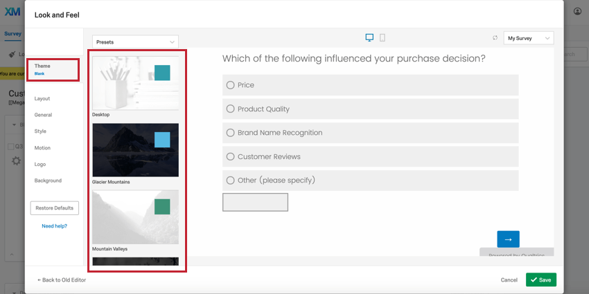 image of the theme tab in the look & feel editor. The theme selection panel is highlighted