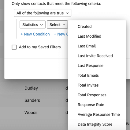 Image of the available statistics for filtering. The options are Created, Last Modified, Last Email, Last Invite Received, Last Response, Total Emails, Total Invites, Total Responses, Response Rate, Average Response Time, and Data Integrity Score