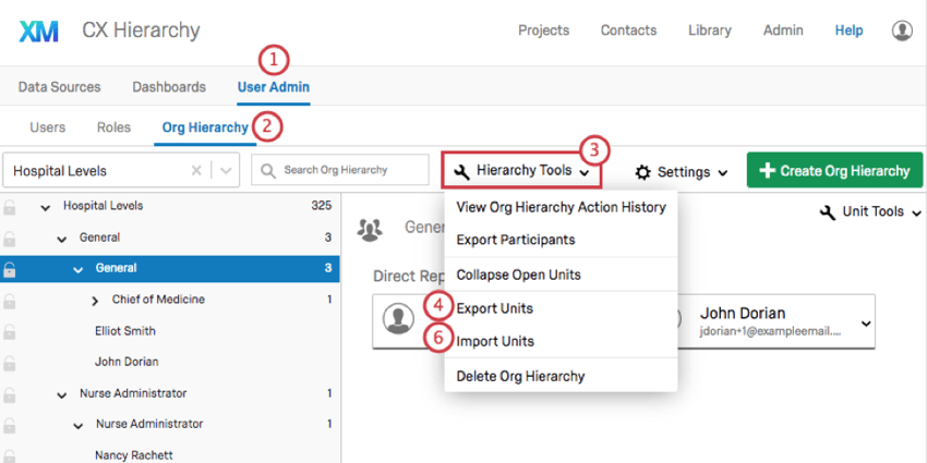 Showing the steps from the tabs along the top that you click, to the tools button around the center of the page, to the export and import options under that menu that appear 4th and 5th in the menu