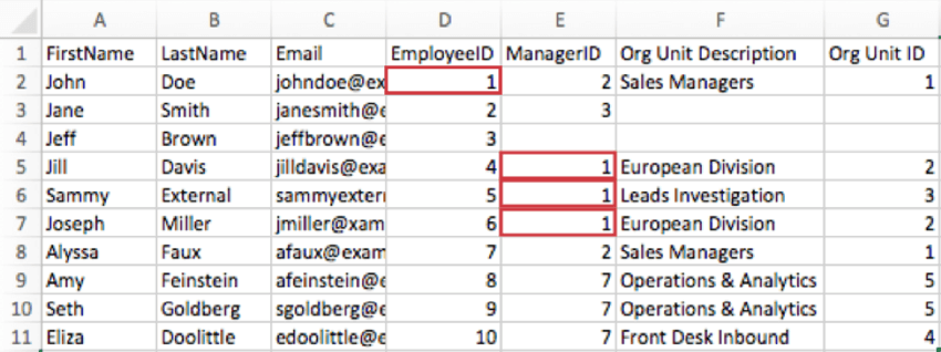 A CSV. John Doe's EmployeeID EmployeeID column says 1. Jill Davis, Sammy External, and Joseph Miller ManagerID columns also say 1