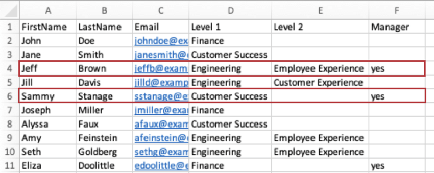 A CSV where Jeff Brown has his Level 1 and 2 filled out, whereas Sammy External's Level 2 is blank.