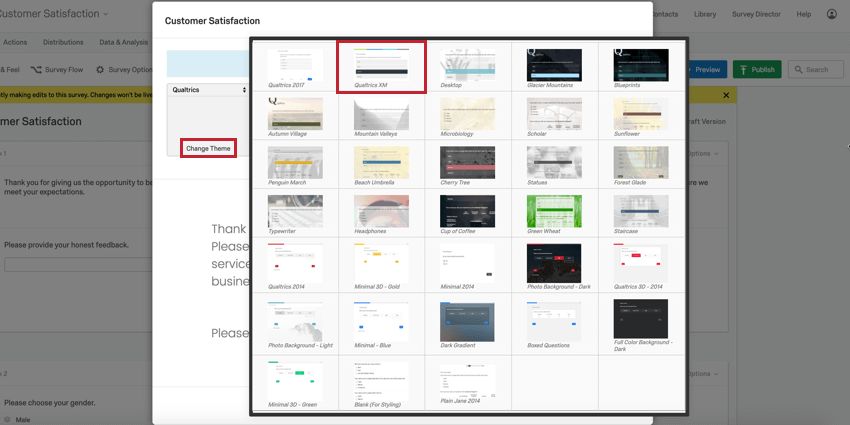 """image of the """"Change Theme"""" option in the old look & feel editor. The theme selection panel is open and a survey theme is selected"""