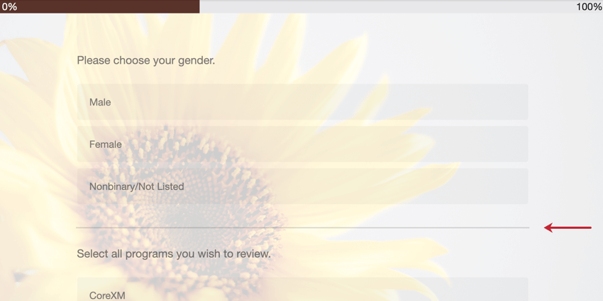 "image of a line inserted between survey questions due to the ""question separator"" option being enabled"