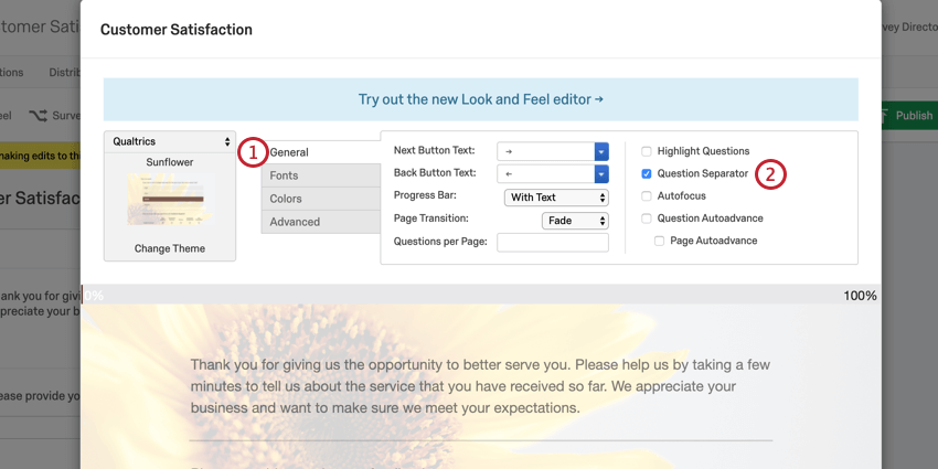 image of the old look & feel editor. the general tab is selected and the question separator option is enabled