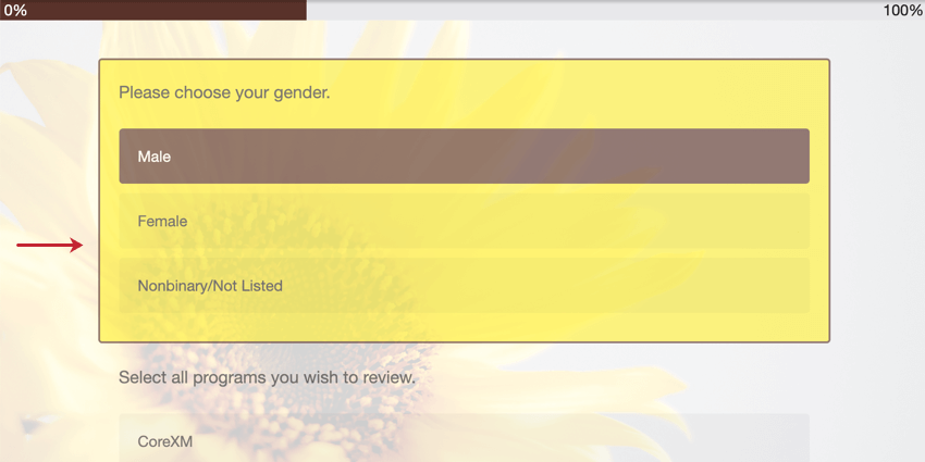 "image of a color background behind a survey question due to the ""question highlighting"" option being enabled"