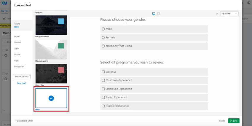 image of the theme tab in the look & feel editor. The blank survey theme is selected