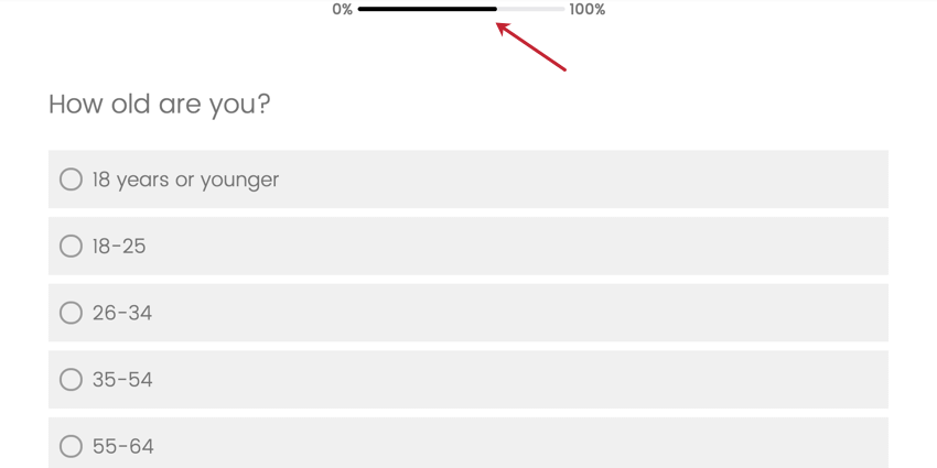 Image of a progress bar appearing at the top of a survey