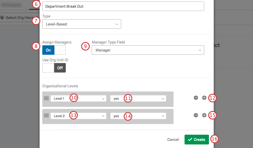 The Create New Hierarchy window with the fields described in the steps