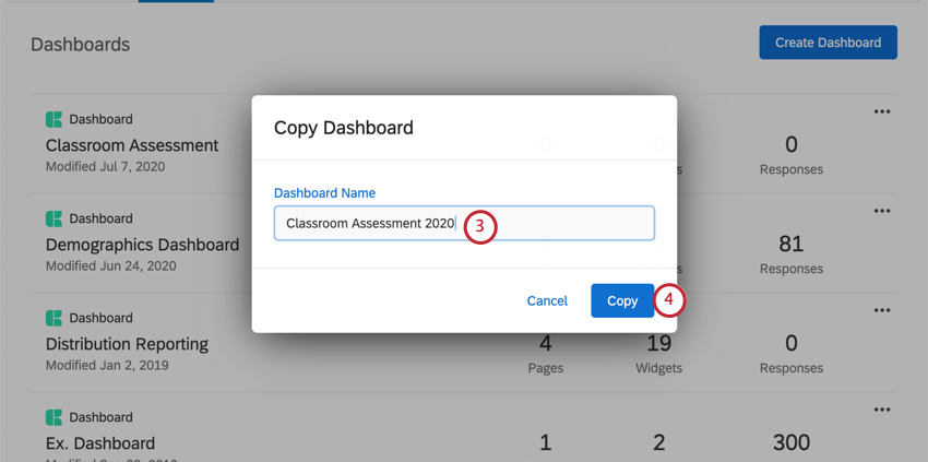 Copy dashboard window that opens over the page
