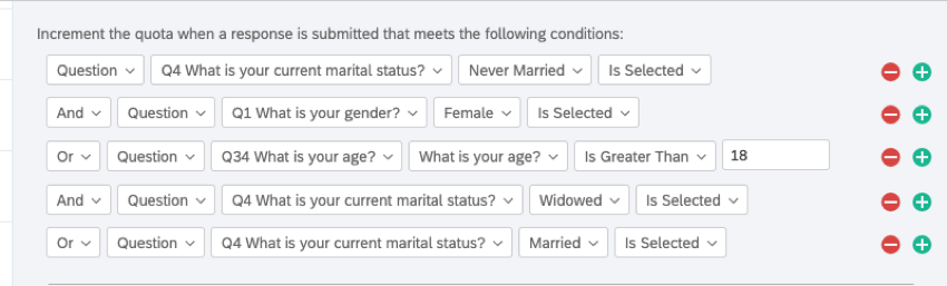 The logic says, If the marital status is never married, and the gender is female, or the age is greater than 18, and the marital status is widowed, or the marital status is married