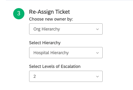 First dropdown has Org Hierarchy selected. This creates two more dropdowns beneath it: one for choosing the hierarchy, and one for choosing the level of escalation