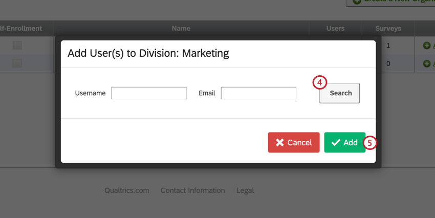 image of the add user to division screen. The search button is on the right side and the fields for searching by username and email are present.