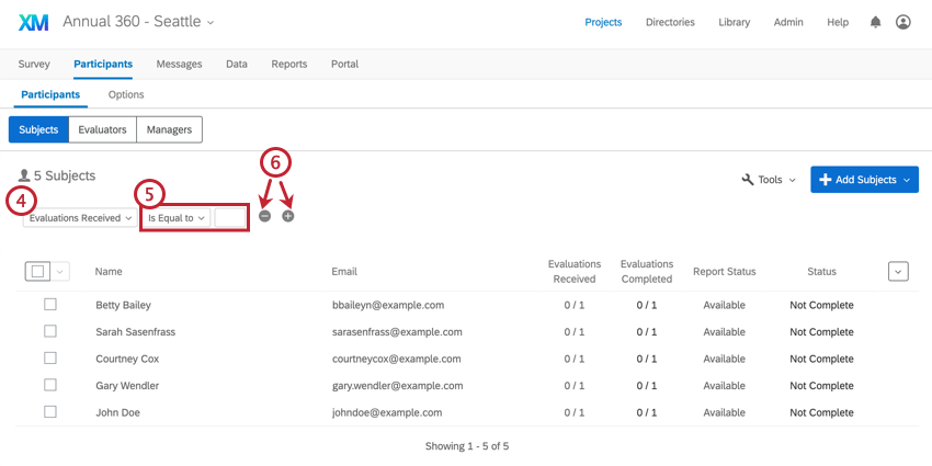 Image of creating an advanced search based on the number of evaluations received
