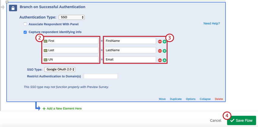 Image of the SSO fields for Google OAuth 2.0. The fields are FirstName, LastName, Email