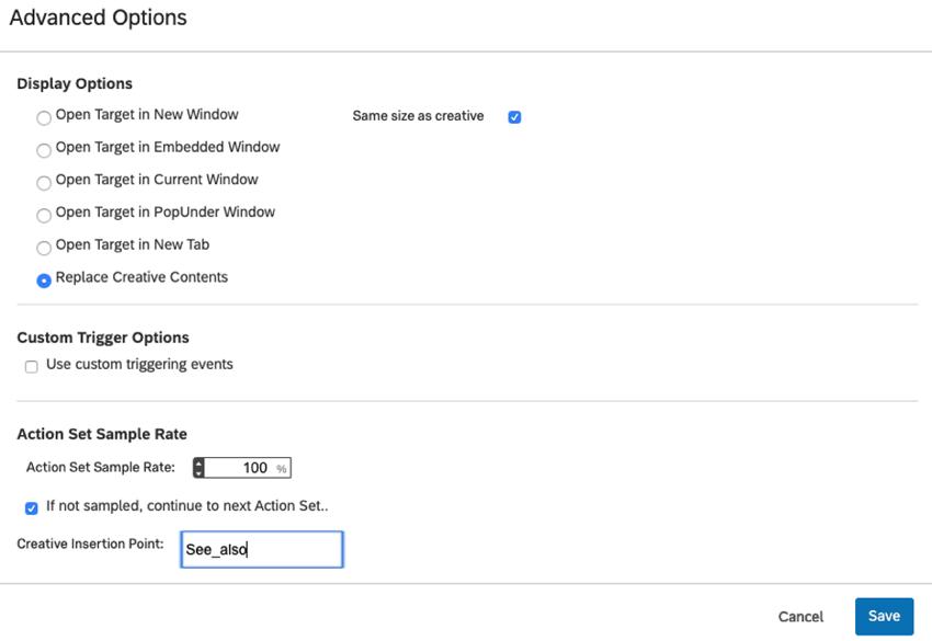 Advanced Options page
