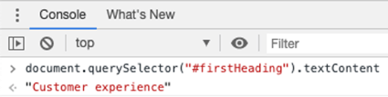 Chrome developer tools. Console selected. Throw in the Javascript we provide, and it returns a value in red, the name of the wikipedia page