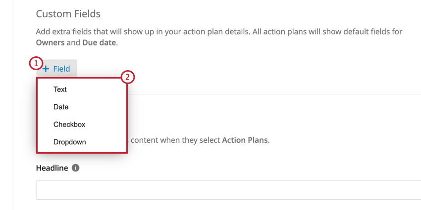 the custom fields section of action planning. click field and select the field type to add a new field