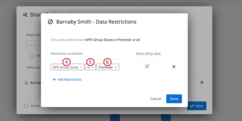 a condition for restricting based on survey data. the user is restricted to only seeing NPS promoters