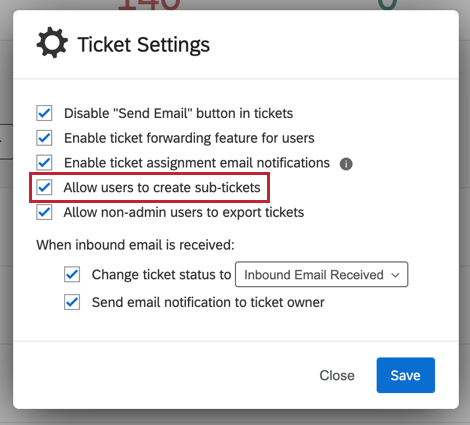 "image of the ""allow users to create sub-tickets"" option"