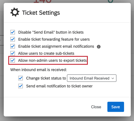 "image of the ""allow non-admin users to export tickets"" option"