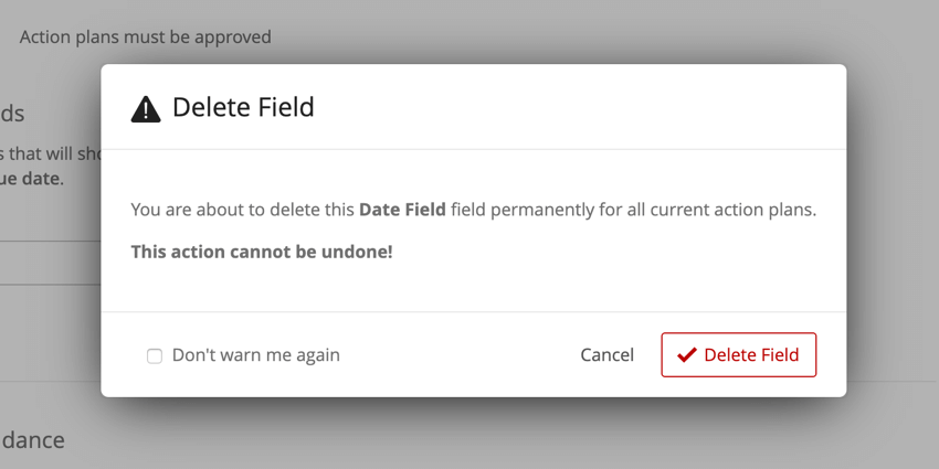 the deletion confirmation window before permanently deleting a field