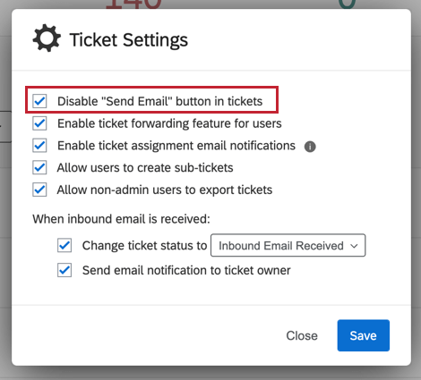 "image of the ""disable send email button in tickets"" option"