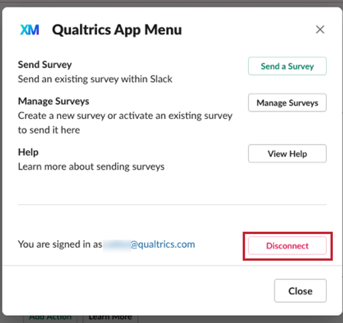 image of the disconnect button within the Qualtrics app menu within slack