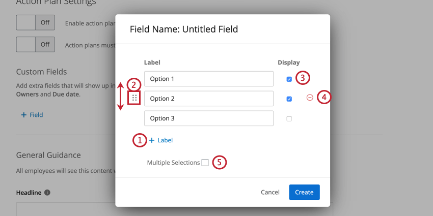 options for customizing checkbox and dropdown fields.