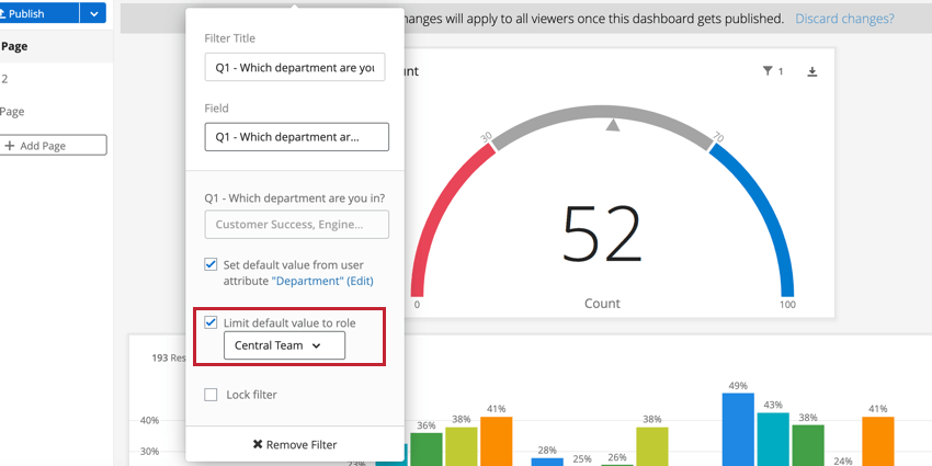 the limit default value to role option on a dashboard filter