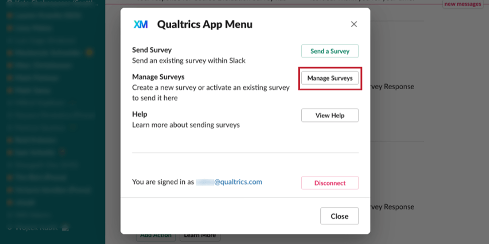 image of the Qualtrics Slack App menu. The Manage Surveys option is selected for creating/activating a survey
