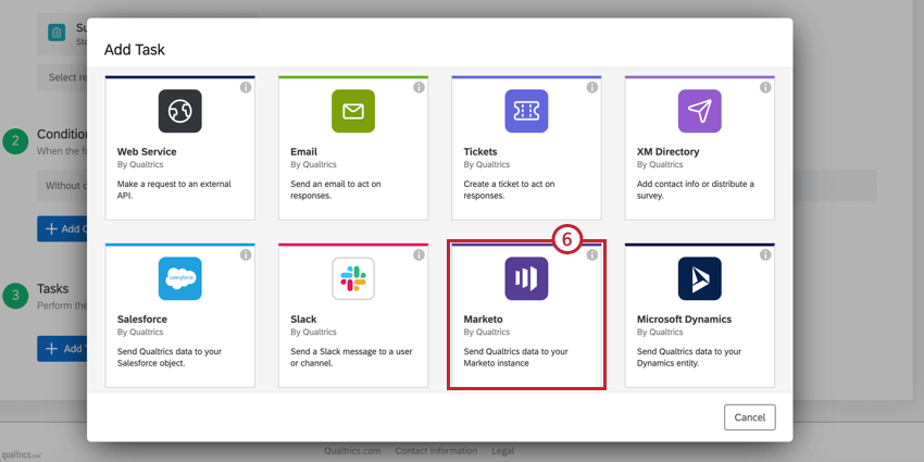 image of the Marketo task in the task selection screeen