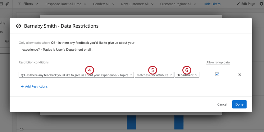 a condition for restricting data. The restriction is set to see data based on the user's user attributes
