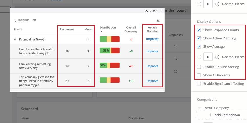 image of a scorecard widget's display options