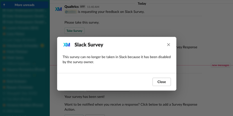 """image of the """"this survey can no longer be taken in slack because it has been disabled by the survey owner"""" error message"""
