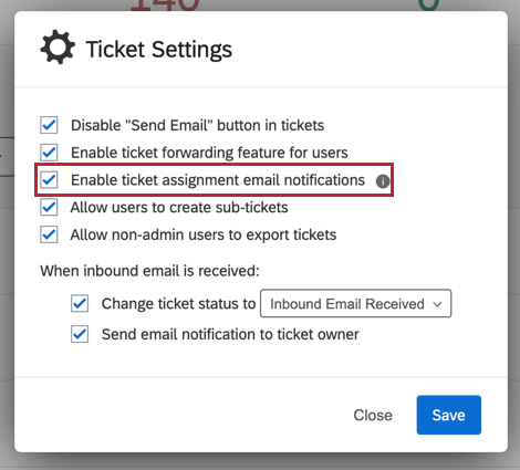 "image of the ""enable ticket assignment email notifications"" option"