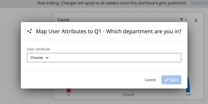 the user attribute selection dropdown
