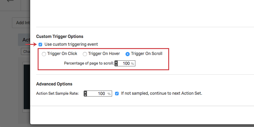 image of the use custom triggering event option. The option is set to trigger on scroll.
