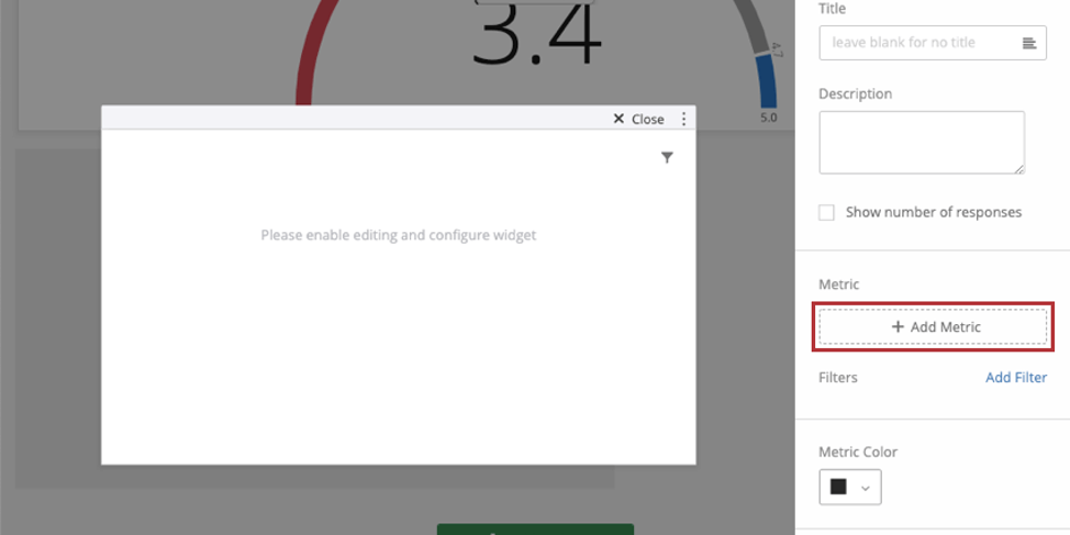 Once clicked into widget, editing pane opens to right, and theres a field when you scroll down that says add metric
