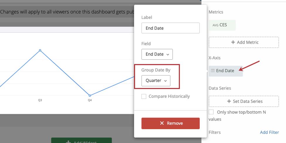 Menu for grouping dates after you click your field
