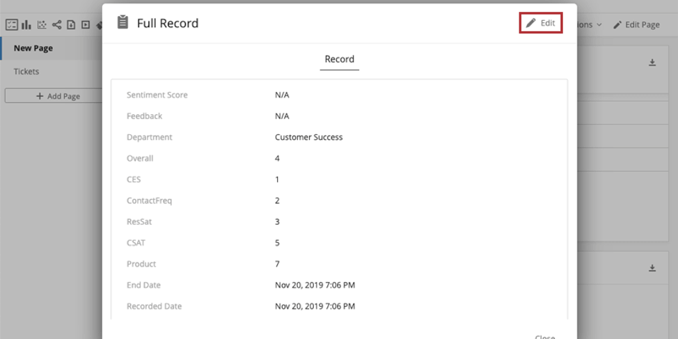 Record window open over dashboard, edit button in upper-right