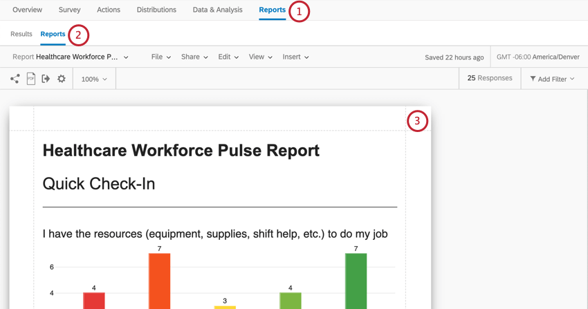 Reports is last tab. Under that, another reports button, to right of Results. Screenshot shows the report, with a rainbow bar graph