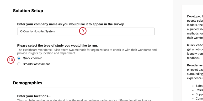 Field for company name, then type of assessment choice. Next button blue, bottom-right