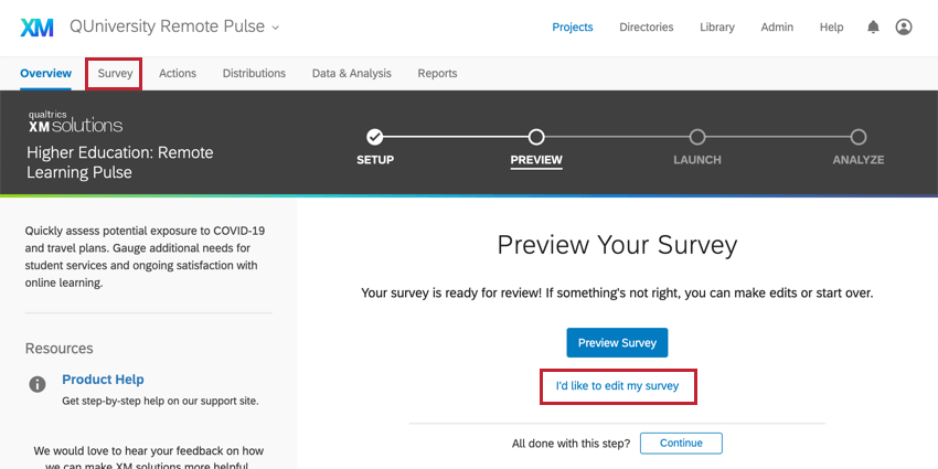 Survey tab top, I'd like to edit blue text underneath blue preview survey button
